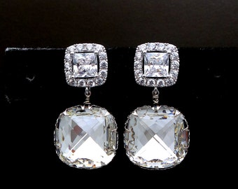 Bridal wedding jewelry bridesmaid gift prom party Swarovski clear white square cushion cut crystal drop cubic zirconia square post earrings