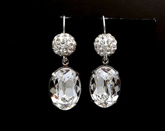 Christmas prom wedding bridal earrings party Swarovski clear white crystal rhinestone pave ball and oval fancy rhinestone drop silver hook