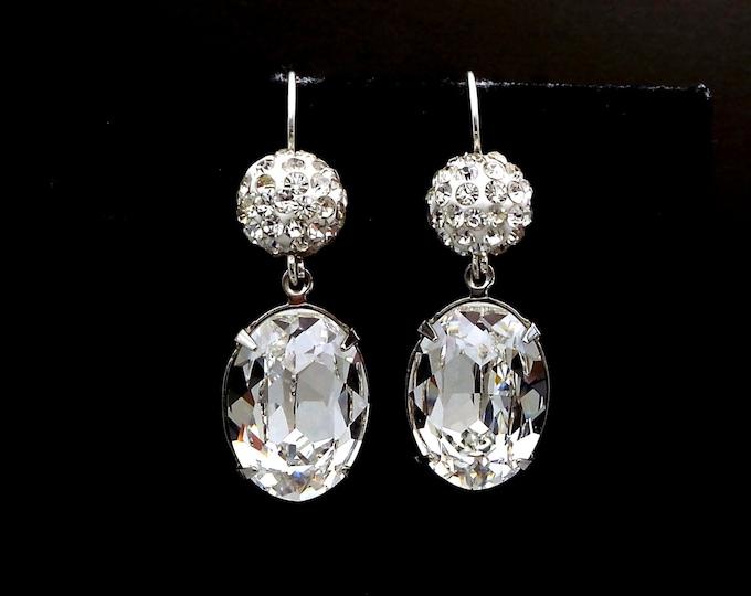 Christmas prom wedding bridal earrings party Swarovski clear white crystal rhinestone pave ball and oval fancy rhinestone drop silver hook
