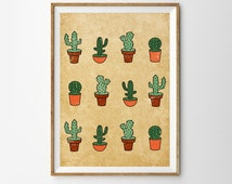 Cactus Print, Summer, Wall Art,  Large Wall Art , Scandinavian Art, Oversized Art, Southwest Art, Cactus
