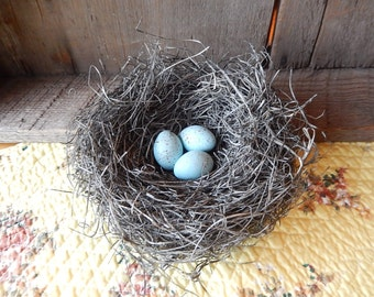 Handmade Bird Nest Featured in COUNTRY LIVING MAGAZINE  - with handmade Crow's Eggs Farmhouse Chic French Country Romantic Homes Decor