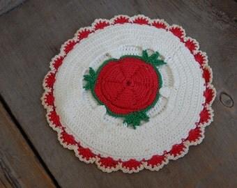 Vintage Potholder Crochet Cottage Chic Handmade Kitchen Home Decor