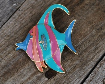 Angelfish Pin, Lapel Pin, Nautical pin, Pastel Angelfish,Beach wear, Fish Pin, Vintage Lapel Pin, Retro Accessory, Brooch, Fish Brooch