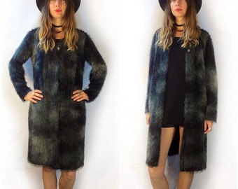 Vintage 80s 90s furry fuzzy knee length sweater robe kimono cover up cape duster // made in USA // goth grunge punk club kid witchy Rave