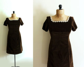 vintage dress 1960s velvet chocolate brown antique lace collar handmade clothing size small s