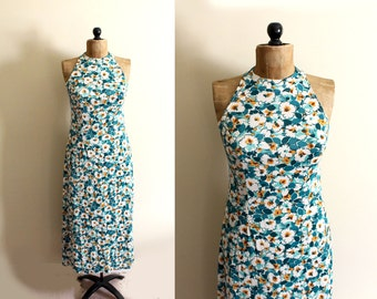 vintage dress 1970s womens clothing maxi sleeveless floral print green white size small s
