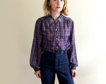 vintage blouse 70s embroidered collar blue plaid shirt 1970s womens clothing size m l medium large
