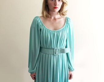 vintage dress 70's gown women's clothing seafoam blue green pastel goddess disco 1970's size small s