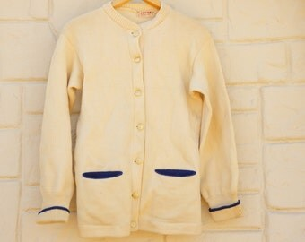 Vintage 50s-60s Logan Knitting Mills Wool Cardigan Sweater/ Retro /Mid Century