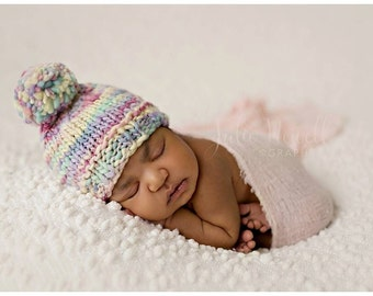 Knitted baby hat, Knit Baby Beanie, Hat, Pastel Colors, Spring hat, Pompom, Newborn Baby Photo Shoot Prop by Cream of the Prop