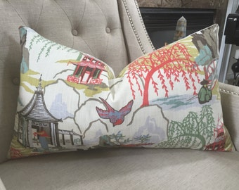 "Robert Allen Neo Toile  pillow cover in coral - 12""X20"" - Pattern  on the front - Ready to ship"