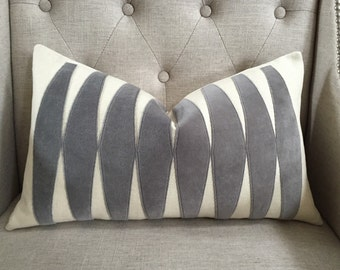 "Grey Velvet applique pillow cover - 12""x20"" - Pattern on the front - Made to order"