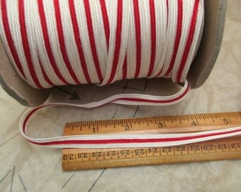 2 yards of vintage scarlet red and white striped braided trim- 70s, new, 3/8""