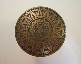 antique Victorian bronze door knob - Compass Rose pattern - Russell & Erwin New Britain, CT - antique doorknob, antique hardware