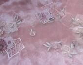 2 yard destash embroidered organza in blush