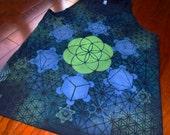 L Seed of Life Tank Top w/ Platonic Solids Metatrons Mandala Chakras Handpainted Mandala w/ Flower of Life, Honeycomb, Fractal Hexagons