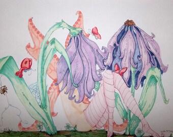HIde and Seek ink drawing Original Fairy unframed