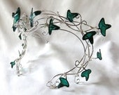 Silver vine circlet with green leaves, womens, accessories,prom,  headband, handmade