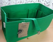 New Color /Purse insert Organizer Shaper / 12 x 6 x 6H / Kelly Green/Fits Neverfull MM/With stiff wipe-clean bottom & key fob/ Ready to ship