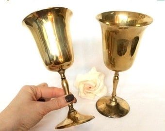 Valentine Sale Brass Goblets Set of 2 Brass on silver Stemware Drinking Goblets Made in India