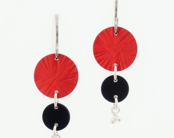 Anodized Aluminum Earrings by Mandy Allen - Gift for Her - Red and Black Earrings