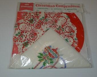 Vintage Christmas Paper Tablecloth Napkin Doily Set Christmas Compendium