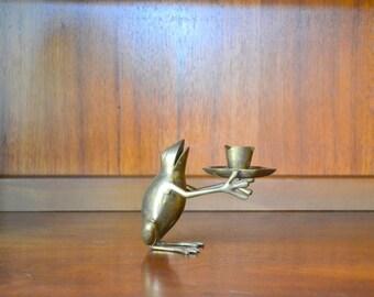 vintage brass frog candle stick holder