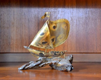 vintage mid-century modern wood and metal ship figurine