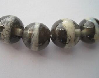GREY GARDENS - 6 Handmade Lampwork Glass Beads - Inv130A