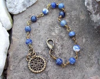 Blue Sodalite gemstone beaded chain bracelet with round charm, Hippie Bohemian jewelry, Southwest boho