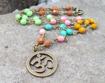 Czech faceted glass beaded chain necklace, Rustic Om Ohm Pendant necklace, Zen jewelry