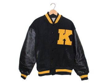 "Vintage Yellow & Black Leather ""K"" Varsity Jacket Made in USA - Medium"