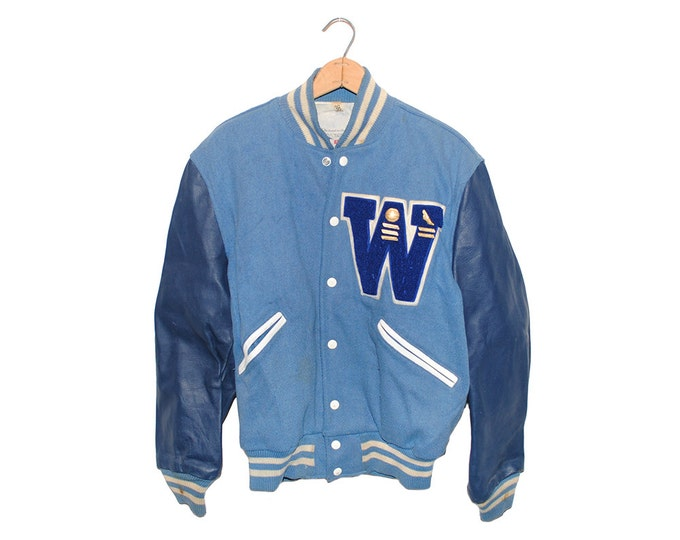 Vintage Light & Dark Blue Leather W Varsity Jacket of Champions Tailored by Butwin Made in USA - Medium (os-jkt-15)