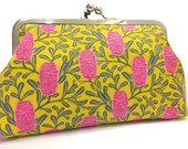 clutch purse - banksia man ( pink ) - 8 inch metal frame clutch purse - large purse- banksia -  native flower- pink - yellow - kisslock
