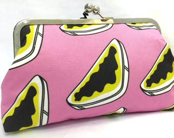 clutch purse - she just smiled and gave me a vegemite sandwich - 8 inch metal frame clutch purse - large purse- vegemite - pink - kisslock