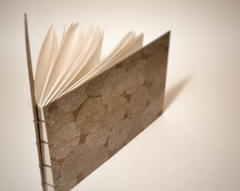 gray with silver mums coptic bound wedding guest book - blank wedding guestbook - small wedding guest book - hand bound wedding guest book