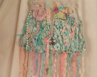 eserved for Claire Silk Knit Fairie Purse and Bracelet  Marie Antionette Style Art to Wear in Palest Pastel Shades