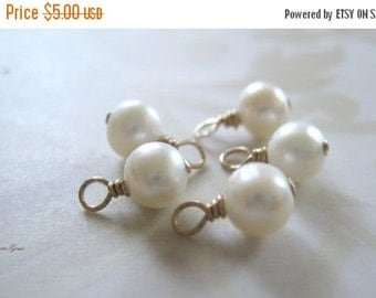 20% OFF ON SALE 2 pcs 14K Gold Filled Wire Wrapped Freshwater Potato Pearl 6mm Drops