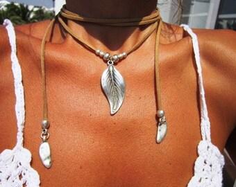wrap necklace, nature leaf necklace, Boho jewelry, bohemian jewelry, hippy jewelry, bohemian necklaces, boho necklaces, minimalist jewelry