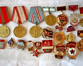 Soviet Vintage Badges / Pins / Awards / Medals - Set of 20 - Soviet Army and Work Service Insignia - from Russia / Soviet Union / USSR