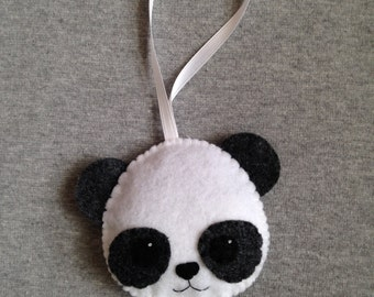 Panda Ornament, Black and White Felt