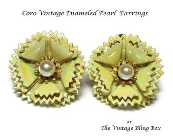 50s Coro's Yellow Flower Earrings with Pearl Center & Pearlized Enamel Metal Petals in Floral Motif - Vintage 50's Designer Costume Jewelry
