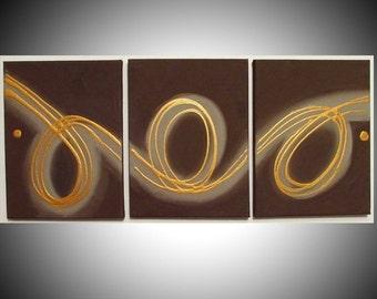 "triptych art 3 panel wall art ""Rings of Gold""  69x30 cm 3 panel canvas wall art canvas paintings original painting on canvas modern art"