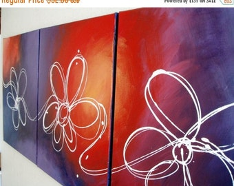 triptych flower wall art Floral abstract original decorative home acrylic office hand painted 3 panel paintings on canvas contemporary