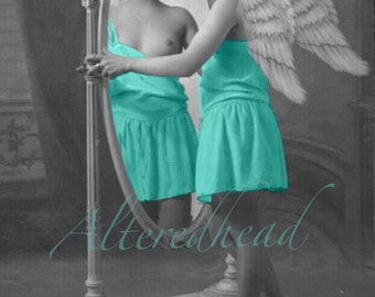 Victorian Angel Altered Repro Photo Print Mature Alteredhead On ETSY Victorian Nude Photo Prints 5x7 Altered Reproduction Print Black White