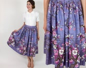 60s Border Print Skirt | Lavender Purple Floral Print Swing Circle Skirt | Small