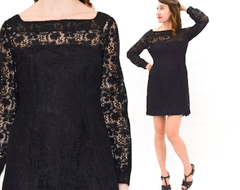 60s Black Lace Dress | Little Black Dress | Sheer Party Dress, Small