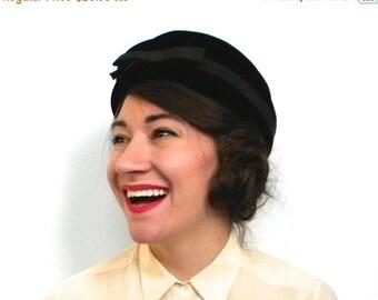 SummerS SALE Vintage Hat 1960s Black Velvet Pillbox Hat with Bow, Toque