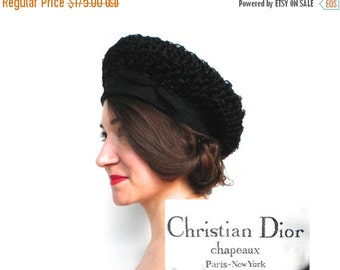 SummerS SALE Christian Dior Hat 60s Black Woven Hat | Bubble Hat