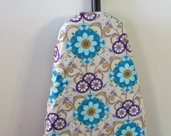 Ironing Board Cover - aqua blue and purple floral shapes